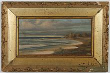 MARTIN B. LEISSER (1846-1940, CA) OIL PAINTING ON BOARD - Signed at lower right, the piece depicts a coastal landscape with trees in...