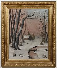 19TH CENTURY OIL PAINTING ON CANVAS - This unsigned antique painting shows the countryside in winter with snow, trees and a cabin. C...