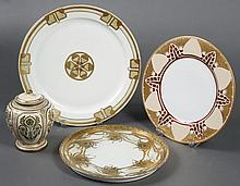 THREE ANTIQUE PORCELAIN PLATES AND SMALL JAR - Decorated in the Aesthetic Movement/Art Nouveau style with stylized peacock feathers,...