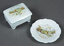 AYNSLEY CHINA COVERED TRINKET BOX AND PIN DISH - Painted with two types of British WWII fighter planes; the Hurricane and the Blenhe...