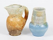 TWO VINTAGE BESWICK POTTERY ITEMS; PITCHER AND VASE - Pitcher has a molded dragon form handle and a mottled ochre drip glaze. Marked...