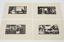 FREDA BONE (United Kingdom) FOUR WOODCUTS ON PAPER - The four woodcuts are each pencil signed. All depict interior or exterior scene...