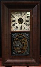 ANTIQUE SHELF CLOCK - Wood veneer case with painted glass front. Manufactured and sold by Chauncy Jerome (1798-1868), New Haven, Con...