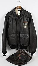 VINTAGE US ARMY AIR FORCE LEATHER JACKET - Brown dyed goatskin with brown wool waist and cuff ribbing, brown satin-cotton lining; tw...