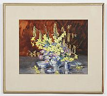 MARION BROOM (1878-1962, United Kingdom) WATERCOLOR ON PAPER - Signed still life painting of flowers in a blue and white porcelain t...
