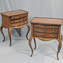 DREXEL: PAIR OF SIDE TABLES - Provincial style with cherry veneers, serpentine fronts, three drawers with brass hardware and cabrio...