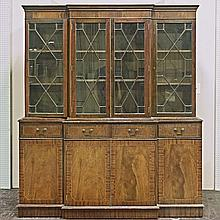 BREAKFRONT CABINET - Vintage American mahogany with four door upper bookcase compartment with astragal glazed windows and interior s...