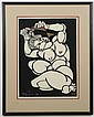 YOSHITOSHI MORI (1898-1992, Japan) STENCIL PRINT ON PAPER - Signed and numbered 23/50; woman combing hair. Condition good. Dated 197...