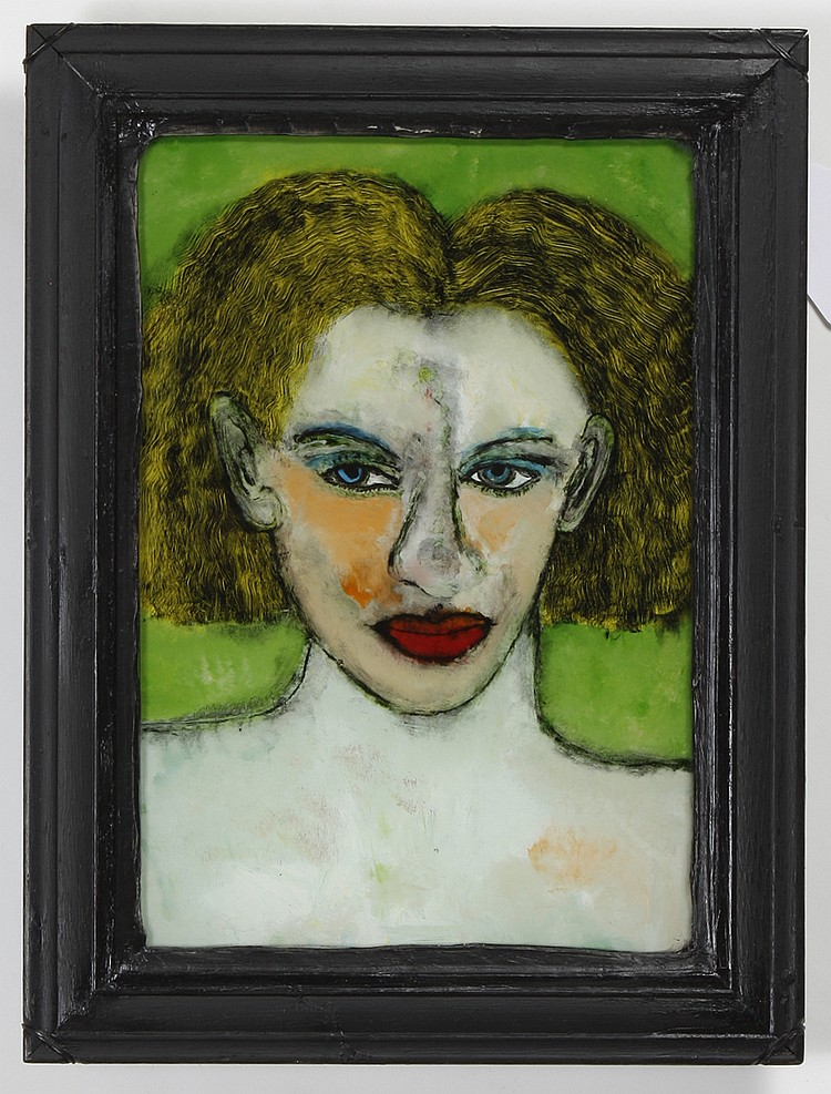 GREGORY GRENON (1948- , Washington) OIL PAINTING ON GLASS - Signed and dated, lower left