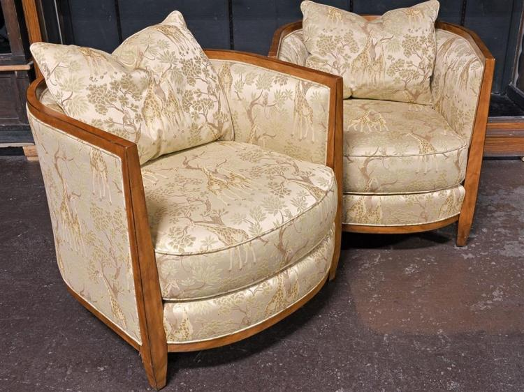 Addendum Pair Club Chairs Contemporary Deco Style With Cu