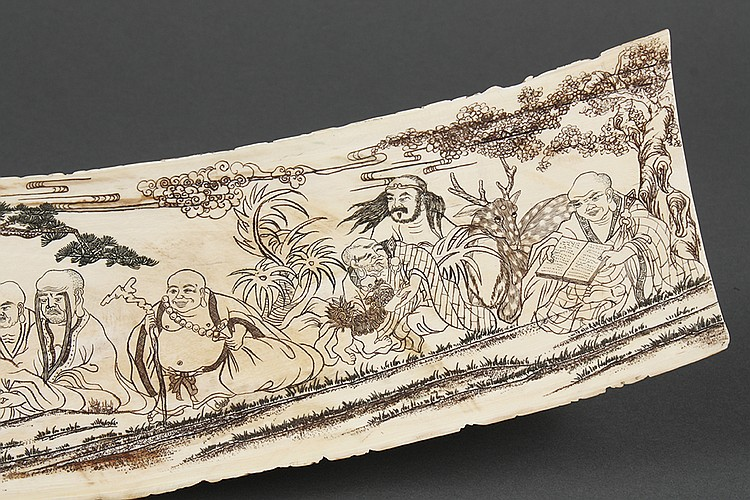 Chinese carved ivory tableau the eight immortals each wit