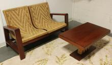 SOUTH AMERICAN MAHOGANY LOVE SEAT & COFFEE TABLE - Mahogany framed with woven rope sling style seating; together with rectangular to...
