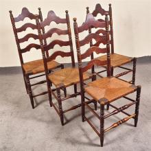 SET FOUR LADDER-BACK CHAIRS - Antique English-style of hard maple; each with turned uprights with bobbin-style accents, four peaked...