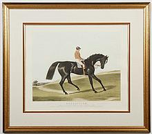 C.A. TURNER EQUESTRIAN LITHOGRAPH - The lithograph is plate signed and hand-colored, printed on paper, and shows a race horse and th...