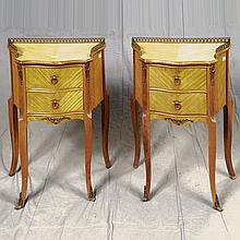 PAIR OF SIDE CABINETS - Semi-antique Louis XVI style with walnut structural components, satinwood matched veneers, three-quarter gal...