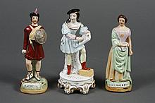 THREE STAFFORDSHIRE FIGURINES - Comprising Macbeth and Lady Macbeth marked on base