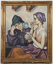 DEZSO KOENIG (1902-1972, South Africa) PAINTING - Signed at lower left, this oil painting on canvas is of a girl blowing bubbles and...