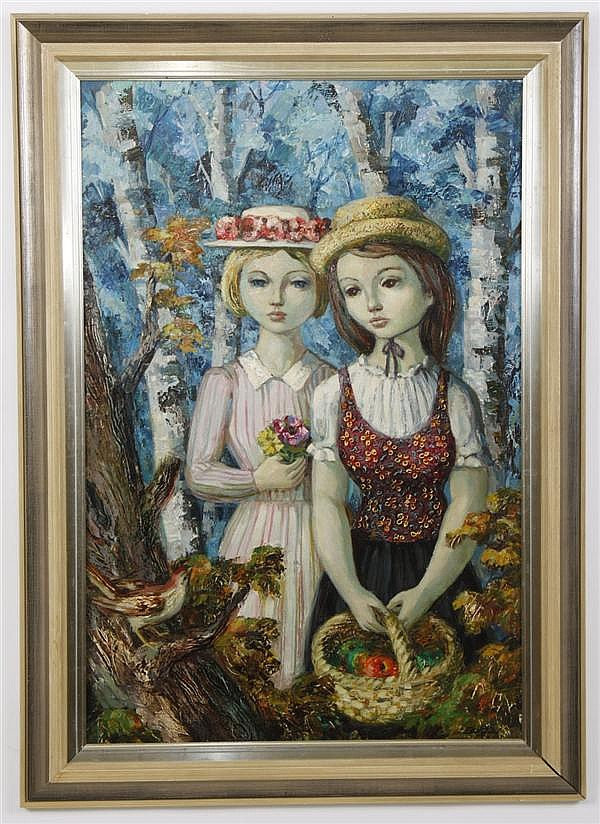 JOSE BUIGAS (1927- , Spain) OIL ON CANVAS - Signed painting of two girls in a forest, one holding a basket of fruit. Condition good,...