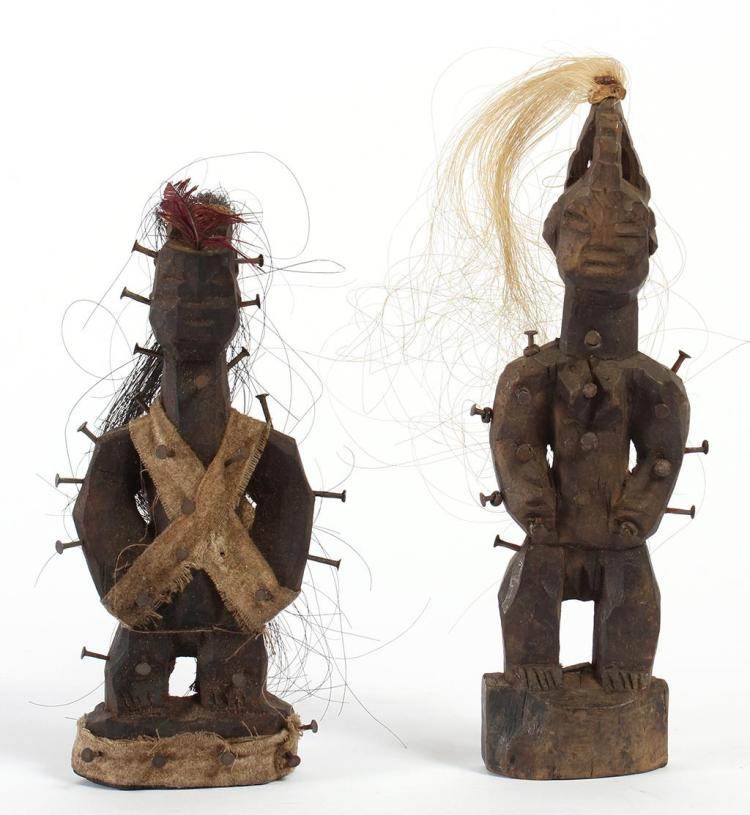 AFRICAN TRIBAL ART; TWO CONGO NKISI NAIL FETISH FIGURES