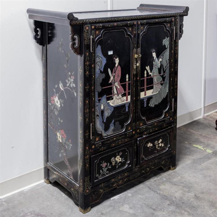 Salon cabinet vintage chinese design relief carved black l for Armoire salon design