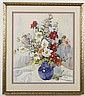 CRISSIE CAMERON (1877-1951, WA/CA) WATERCOLOR ON PAPER - Signed still life of flowers in blue pitcher. Condition good; minor toning....