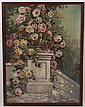 FRANZ ZALLINGER (1894-1962, USA) OIL ON CANVAS - Signed painting of a garden urn with pink roses