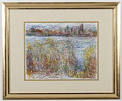 ELIZABETH AURICH (WA) PASTEL ON PAPER - Signed pastel depicting a city skyline in the distance. Condition good; minor debris noted w...