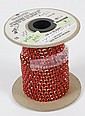 33 FEET OF COMPONENT SWAROVSKI CRYSTALS - Fire engine red component crystals on a 33 foot strand. Marked;