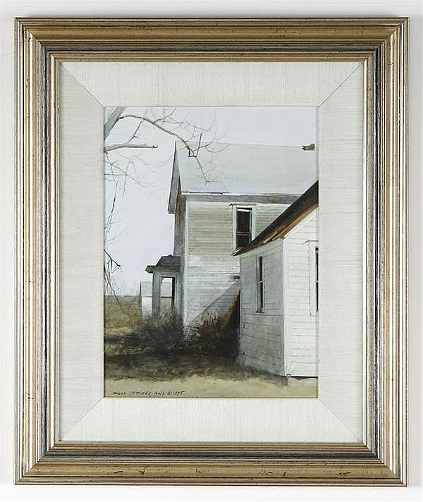 DEAN LAMONT MITCHELL (1957- , New Mexico/Missouri) WATERCOLOR ON PAPER - Signed, rural house and field - A Howard/Mandville Gallery....