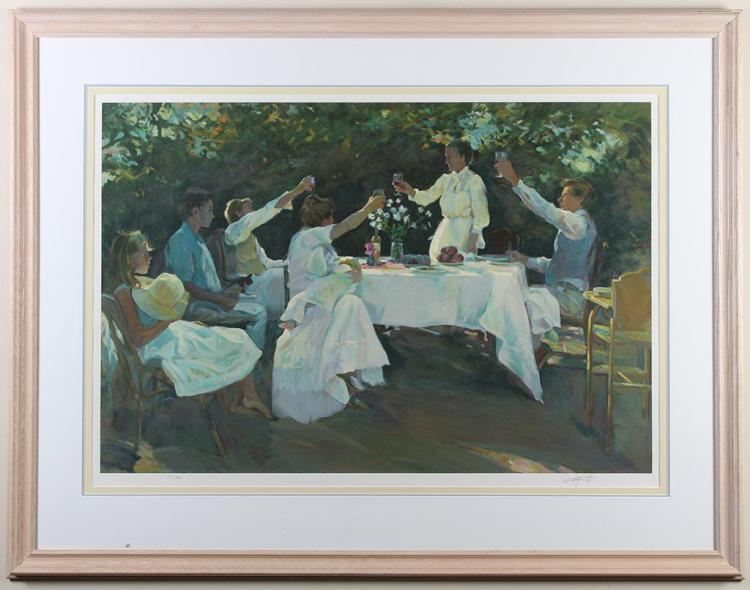 DON HATFIELD (1947-, CA) - A TOAST - Color lithograph of women raising their glasses at an outdoor table