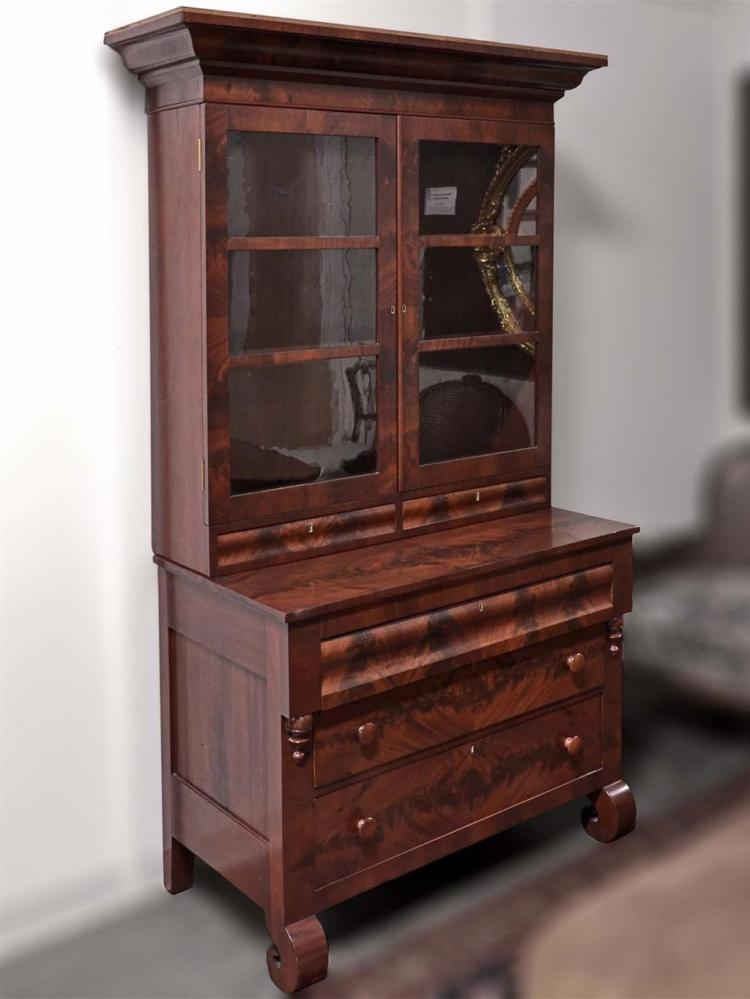Secretary Bookcase Antique American Mahogany With Double D