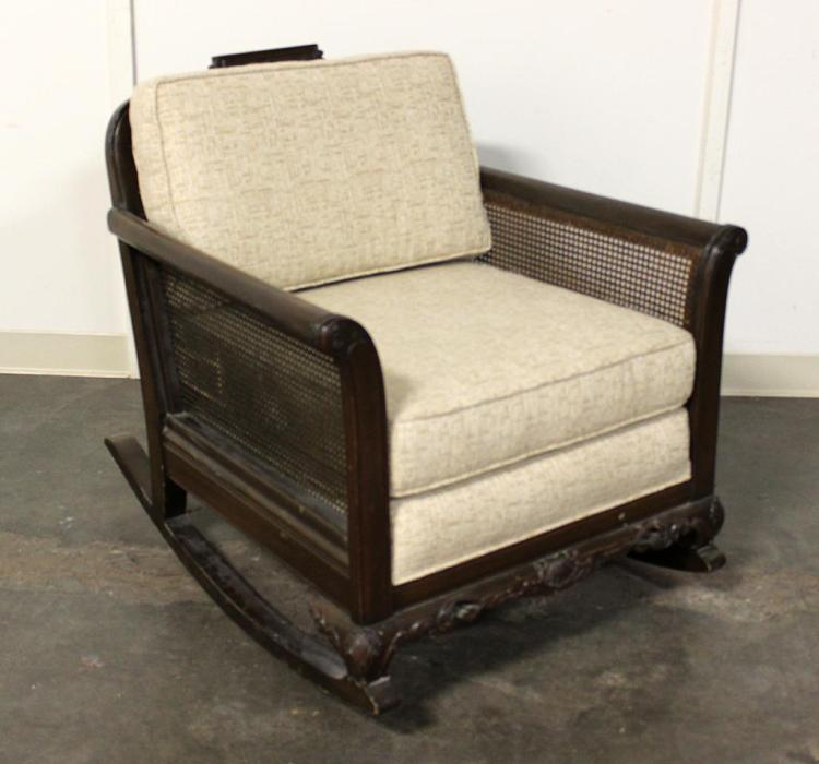 Rocking Armchair Dark Stained Mahogany Frame With Caned Ba