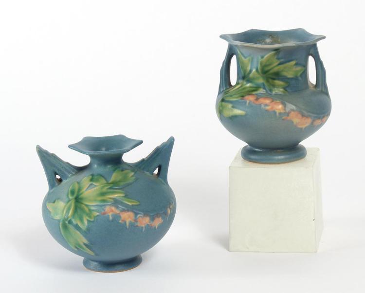 Two Roseville Pottery Vases Bleeding Heart Pattern Both Wi