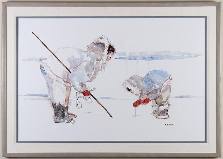 D BARSKE (20th Century) - ICE FISHERS - Watered down acrylic on canvas composition of two figures fishing through the ice in sparse ...