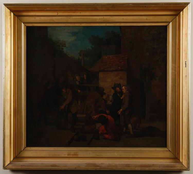 DAVID TENIERS THE ELDER (1582-1649, Belgium) - THE CHASTISEMENT - Oil on canvas scene of an employer criticizing a worker, placed in...