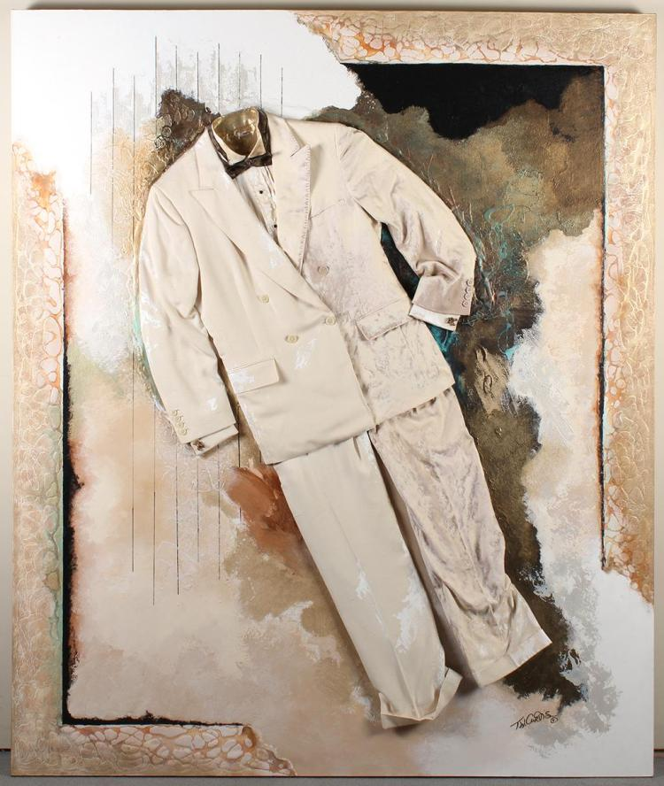 T W CURTIS (20th Century, FL) - THE FINE ART OF CLOTHING - Mixed-media painting in artist''s usual style