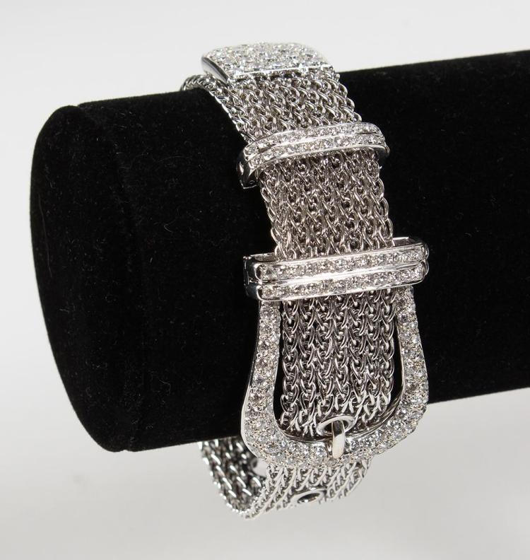 UNIQUE 18K GOLD MESH & PAVE DIAMOND BRACELET - Whimsical bracelet designed like a belt and buckle in 18K white gold mesh link with p...