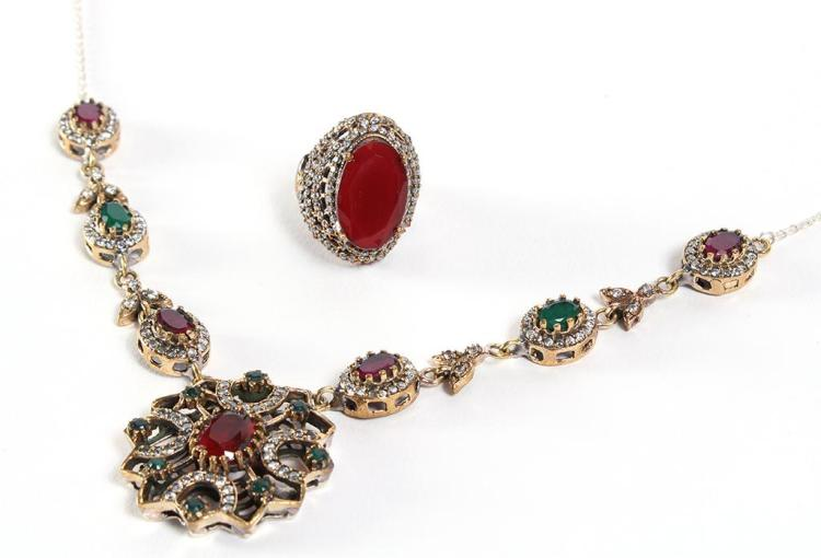 RUBIES, EMERALDS & WHITE TOPAZ IN SILVER NECKLACE & RING - Both pieces are stamped