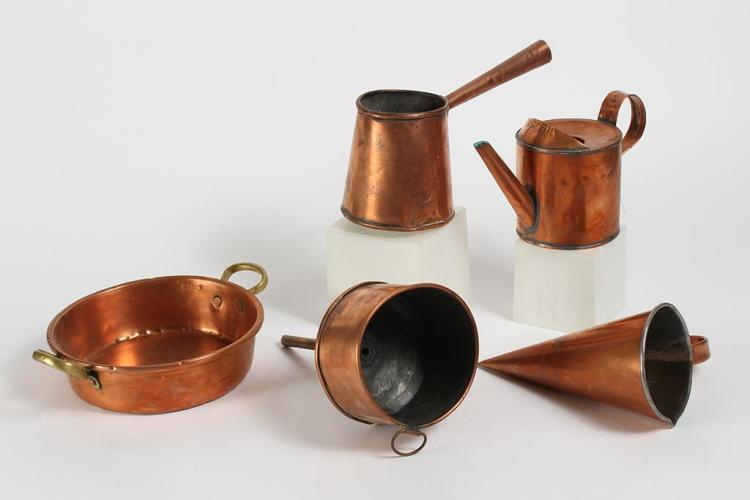 ASSORTMENT OF FIVE VINTAGE COPPER ITEMS - Includes a sauce pan with brass handles, a stove top coffee pot, a conical ale muller, a f...