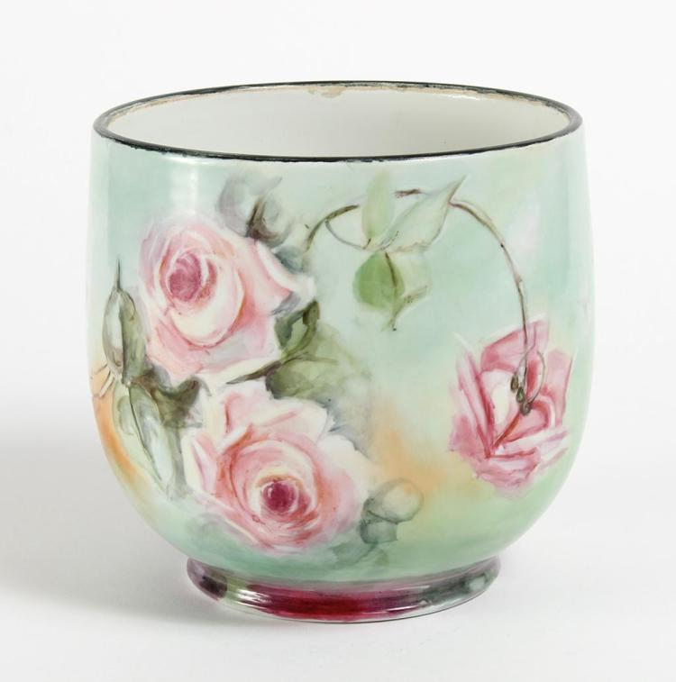 LIMOGES HAND PAINTED PORCELAIN JARDINIERE - Painted with beautiful Heirloom roses in pink and white. Marked