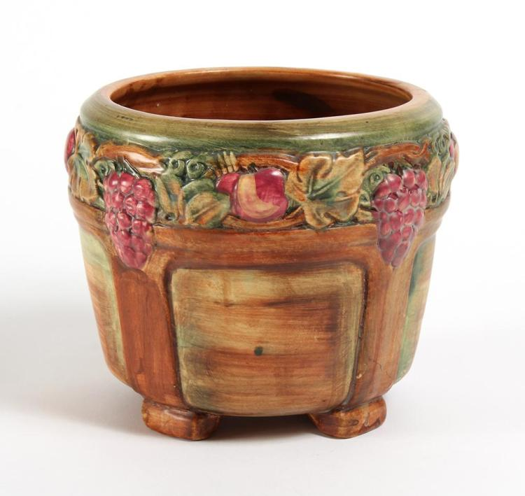 WELLER GRAYSTONE GARDEN WARE JARDINIERE - Footed form with grape and apple design. Unmarked;