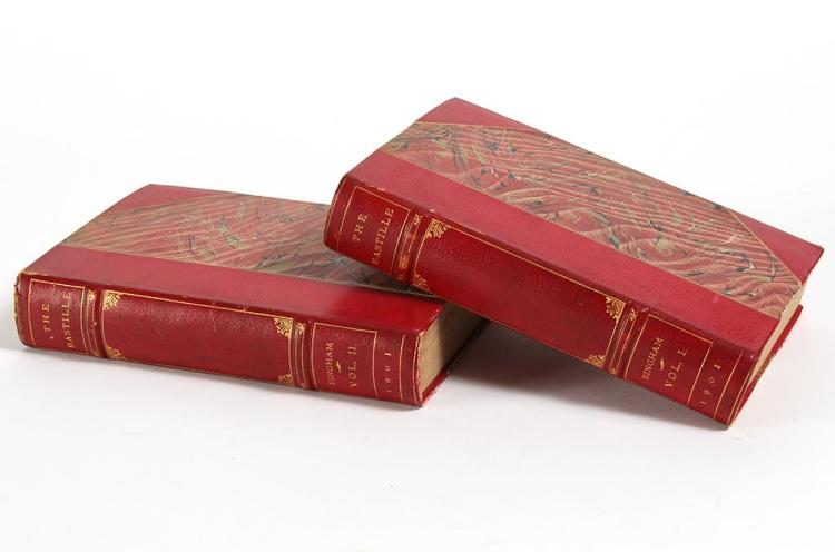 2 VOLUME SET OF CAPT. D. BINGHAM''S THE BASTILLE LEATHER AND MARBLED PAPER - Red Moroccan leather three quarter binding with marbled...