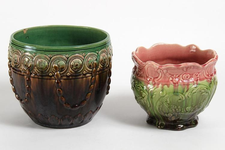 TWO WELLER POTTERY JARDINIERES - First, having a scalloped rim and blended glaze of pink, green and brown. Unmarked. Condition good;...