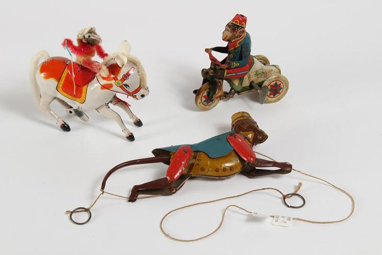 3 MONKEY TIN LITHO TOYS - Includes a Paya vintage wind-up monkey on a tricycle toy with the lithograph coloring placed on the exteri...