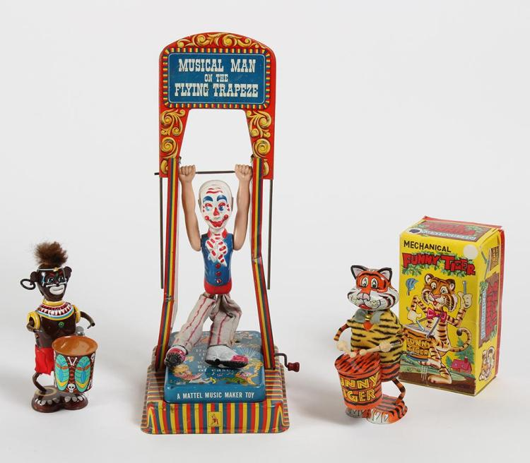 MARX TOYS'' FUNNY TIGER, TOM TOM JUNGLE BOY, AND MATTEL TRAPEZE TOY - Louis Marx tin litho drummer toys includes the classic Funny Ti..