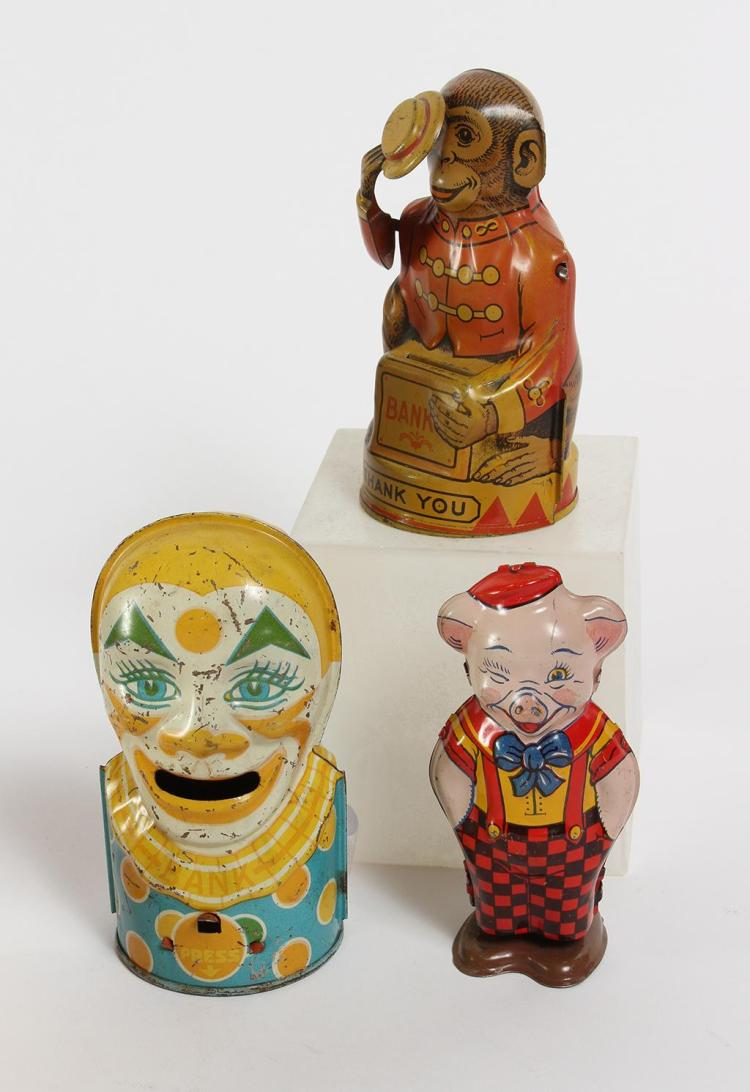 3 J. CHEIN AMERICAN MADE LITHO TIN TOYS AND COIN BANKS - 20th century First Half - Includes a monkey holding a coin bank music box w...