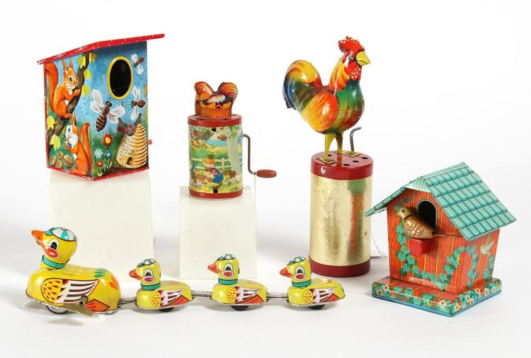 LITHO TIN BIRD AND FOWL TOYS - Includes a Mama Duck and children set, a toy clucker w/ chicken top (USA), a toy clucker w/ chicken t...