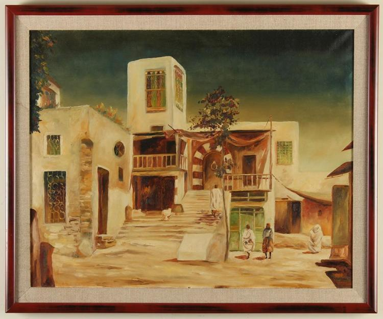 HANS ADAMO (20th Century, Germany) - SIDI BOU SAID - Oil on canvas image of a middle eastern village featuring tall white stone hous...