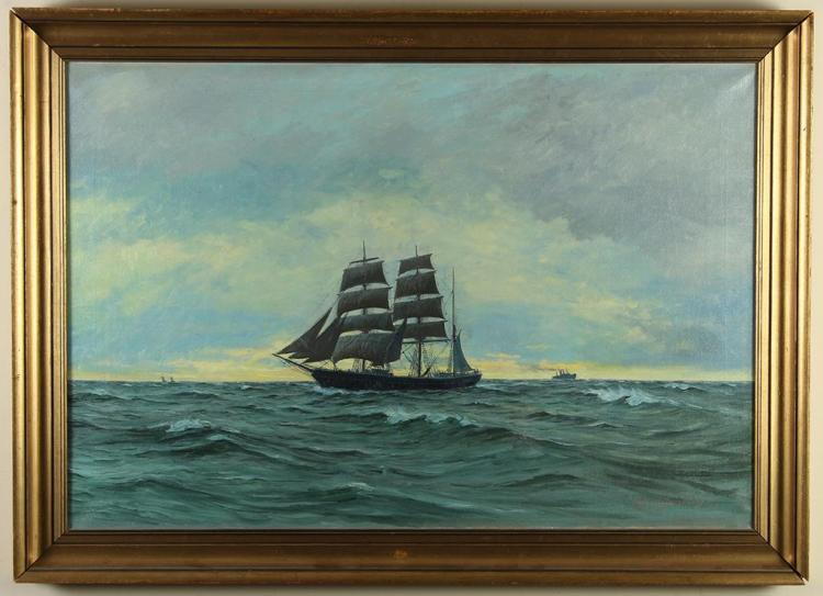 LAURITZ SORENSEN (1882-1968, Denmark) - AT BRISK WIND - Oil on canvas painting of a large ship at sea with rolling waves