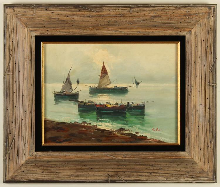(Attributed to) GIUSEPPE CAROSI (1883-1965, Italy) - MARINE WITH BOATS - Oil on canvas ocean scene of a few boats of various sizes c...
